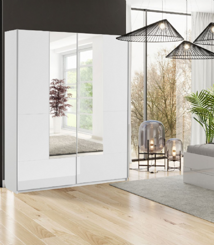 Santino White Gloss Slding Door Wardrobe With Mirrored Door S30